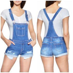 WAX Jeans Distressed Denim Shortalls Size Medium